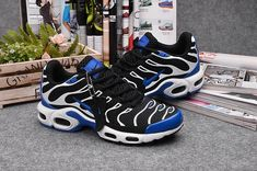 77162c0828 Authentic Nike Shoes For Sale, Buy Womens Nike Running Shoes 2014 Big  Discount Off Nike Air Max TN Women's Shoes Black Blue -