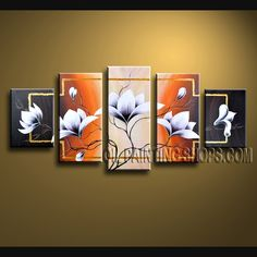 Huge Contemporary Wall Art Oil Painting On Canvas For Bed Room Tulip Flower. This 5 panels canvas wall art is hand painted by Flora.Z, instock - $139. To see more, visit OilPaintingShops.com