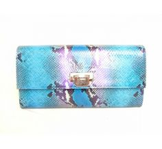 Luciano Padovan Beautiful blue python clutch bag with gold clasp openning into one compartment with a zipped pocket. £435