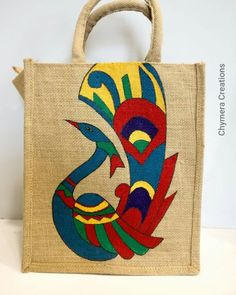 Best 12 Fc just bag Fabric Paint Shirt, Fabric Painting, Diy Art Projects Canvas, Painted Canvas Bags, Hand Painted Fabric, Jute Crafts, Diy Bags Purses, Diy Handbag, Jute Bags
