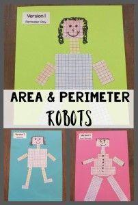 Perimeter and area robots! Math lesson.