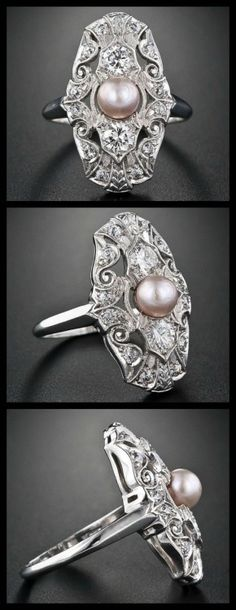 Edwardian natural pearl and diamond dinner ring