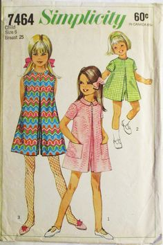 1960s Vintage Sewing Pattern Simplicity 7464 Childs Pantdress Pattern Size 6 Breast 25 by SewYesterdayPatterns on Etsy