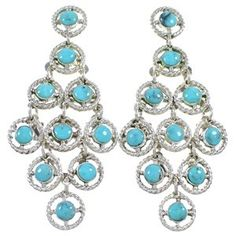 Authentic Sterling Silver Chandelier Turquoise Earrings
