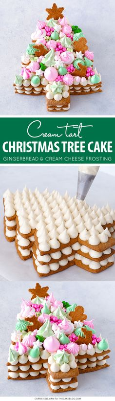 Cream Tart Tree Cake - gingerbread cookie with cream cheese frosting and festive holiday toppings Christmas Tree Cake, Christmas Cupcakes, Christmas Sweets, Christmas Cooking, Christmas Goodies, Xmas Tree, Christmas Holiday, Holiday Treats, Holiday Recipes
