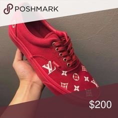 CUSTOM UNISEX Louis Vuitton Vans Era Red Mono They are made-to-order, so please allow ample processing time, I will get them out as quickly as possible. Thank you for your patience! My listed processing time is 7 - 14 Days. That is how long it takes to custom make your shoes. Please be patient and understand that they are done by hand (as are most custom listings) Usually they will arrive sooner than estimated! Pls don't email me the day after you ordered, asking if it shipped yet. You will…