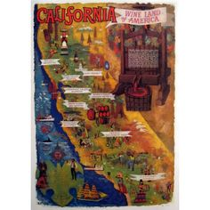 California Wine Country Vintage Poster  #thehighboystyle #fineart