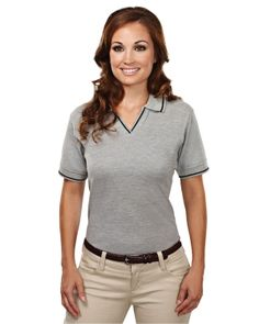 Women's Stain Resistant Johnny Collar Golf Shirt With Trim (60% Cotton/40% Polyester)  Tri mountain 152 #StainResistant #Polyester #GolfShirt