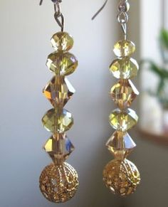 Gold and beige Swarovski earrings with gold accent by SmithNJewels, $19.99