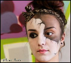 "Awesome facepaint by kimi-kudo:  Face painting today at LA. I did a ""Broken China Doll"" look."