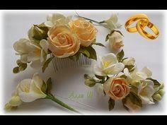 МК Как сделать гребень для невесты, бутоньерку для жениха и шпильки в пр...