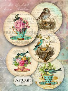 Discover thousands of images about inch size Printable images LITTLE PARADISE Digital Collage Sheet for Pocket Mirrors Magnets Pape Cd Crafts, Crafts To Sell, Paper Crafts, Recycled Crafts, Etiquette Vintage, Cd Art, Photo Vintage, Decoupage Art, Bird Artwork