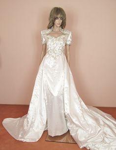Robe de mariée blanche précieux des années 80 robe de mariée