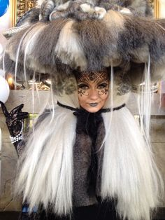 Classics color grey and white fantasy makeup 1910s fur hat inspiration