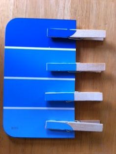 matching shades of color using paint chips for the card AND on the clothespins