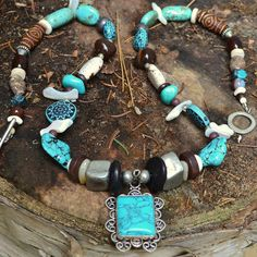 Native American Beaded Necklace Turquoise by ColourMadeMeDoIt, $88.00