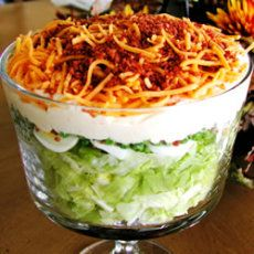 Marly's Mom's Salad: Looks like this with lettuce, onion, black olives, frozen peas, Mayo, parmesan cheese and bacon! AMAZING!