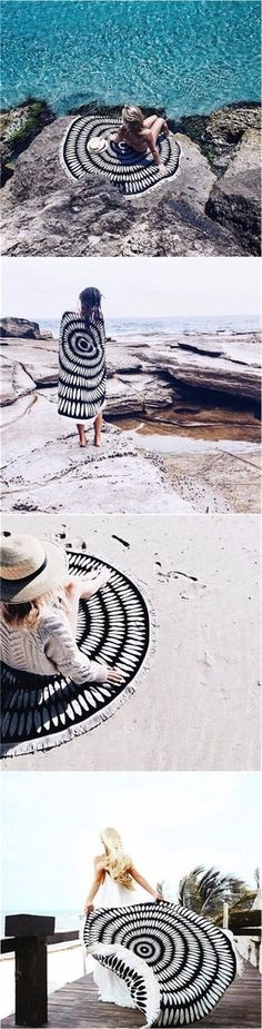 Travel outfit -black & white  Beach Towel Shawl