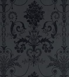 "Std Wp Josette Dark Charcoal - wallpaper width 53cm (21""); roll length 10m (33"") - Wallpaper Gothic Kitchen, Charcoal Wallpaper, Gothic Wallpaper, Goth Home, Laura Ashley, People Like, Victorian, Romantic, Dark"