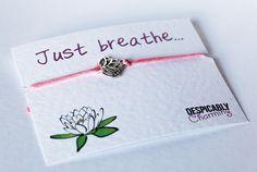 Yoga Bracelet - Just Breathe - Yoga Wish Bracelet - Yoga gifts - Friendship Bracelet
