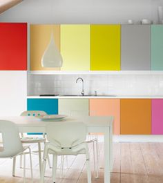 multi colors on the wall cabinets