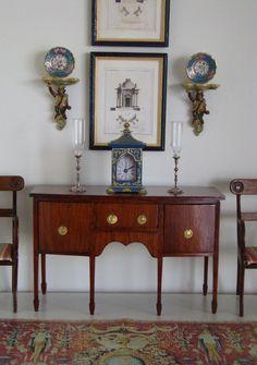 Vintage Artisan Signed Doll House Miniature English Chinoiserie Bracket Clock