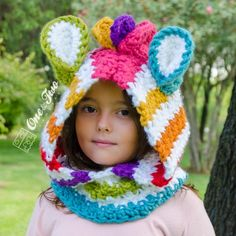 Rainbow Zebra Hood - PDF Crochet Pattern - 3 sizes ( Toddler, Child and Adult ) - Beanie Hat Hood Toddler Child Adult Accessorie Crochet Hood, Bonnet Crochet, Crochet Beanie Hat, Crochet Bebe, Crochet Girls, Crochet For Kids, Beanie Hats, Crochet Scarves, Crochet Yarn