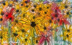 Seth Chwast - Many of Black-Eyed Susans with Red Cardinals - 2013