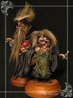 Leather Witch & Wizard Sculpture. OOAK. by MedusaWood on Etsy, $280.00