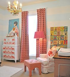 Vintage with a touch of modern. the light blue stripes could easily transition between boys and girls for a nursery or even to a big kids room Girls Bedroom, Ikea Baby Room, Nursery Inspiration, Nursery Ideas, Girl Nursery, Bedroom Ideas, Bedroom Designs, Nursery Decor, Project Nursery