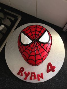 Spider-Man themed birthday cake for my 4 year old boy