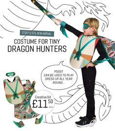 DIY costume for tiny dragon hunters with sword