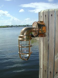 bronze nautical boat dock light in the harsh salt water environment