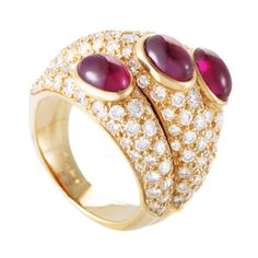 Cartier Cabochon Ruby Diamond Triple Band Yellow Gold Ring For Sale at 1stdibs