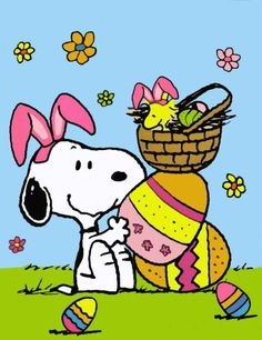 Snoopy as the Easter Beagle Wearing Bunny Ears With Woodstock Sitting in an Easter Basket on Top of a Giant Easter Egg