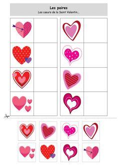 - Les paires : Les coeurs de la Saint Valentin – Pairs: Hearts of Valentine's Day – - Valentine Messages, Valentine Images, Saint Valentine, Valentine Heart, Valentine Poster, Valentine Activities, Valentine Crafts, Valentine Makeup, Valentine History