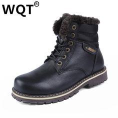 Mens Shoes Warm Fur Boots Men Casual Shoes Male Genuine Leather Zapatos Winter Snow Boots Zapatillas Hombre Plus Size 38-50