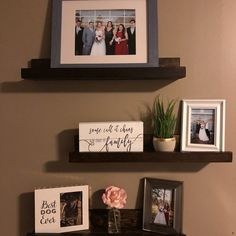From ElkWoodsCreations on Etsy: Picture Ledges. Picture Ledge Shelf, Photo Shelf, Photo Wall, Diy Pallet Wall, Pallet Walls, Big Blank Wall, Rustic Wooden Shelves, Rustic Pictures, Family Wall Decor