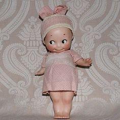 German All Bisque Kewpie with Charming Hand Made Wardrobe - Lynette Gross Antique Dolls, LLC #dollshopsunited