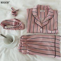 5c23532114 RUGOD Summer 2018 New Fashion Women Pajamas Turn-down Collar Sleepwear 2  Two Piece Set