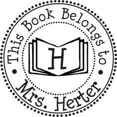 Bookplate Stamp This book belongs to rubber stamp for book labels --7503. $30.00, via Etsy.