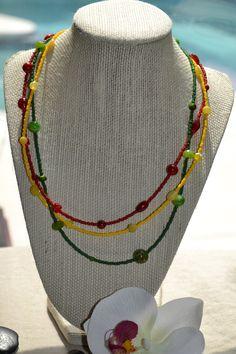 Jamaica Fun Three Strand Necklace by uniquebeadingbyme on Etsy, $21.00