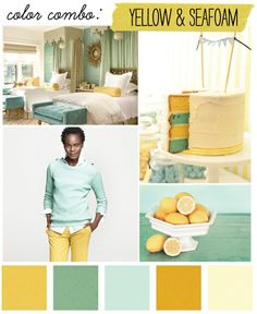 yellow/seafoam color inspiration for your future home @Anna Johnson :)