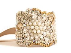 Champagne and Crystal Color Cuff with Ribbon or by Couturelove, $265.00