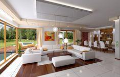 Projekt domu Willa z basenem Make Design, Bathtub, Bathroom, Table, Projects, House, Furniture, Home Decor, Living Room