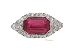 Art Deco ruby and diamond ring, circa 1920.