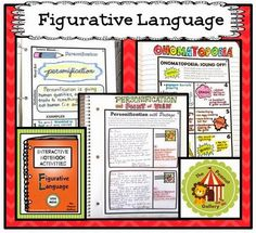 "Check out my ""Less Mess"" Figurative Language Interactive Notebook Activities! They provide an easier, quicker way to make interactive notebooks successful in your classroom...with LESS MESS and LESS STRESS for YOU! ($)"
