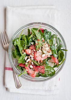 Strawberry- Cucumber Spinach Salad