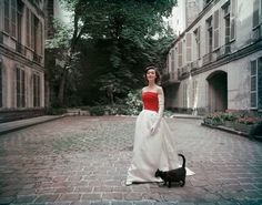 Balenciaga Faille and Satin Gown Photographed in Paris | From a unique collection of color photography at http://www.1stdibs.com/art/photography/color-photography/