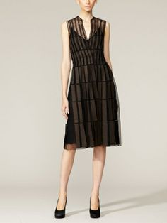 Silk Tulle Wool Embroidered Dress